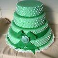 Tort weselny 15 -18 kg zielony z kokardą #TortWeselny #TortyWeselne